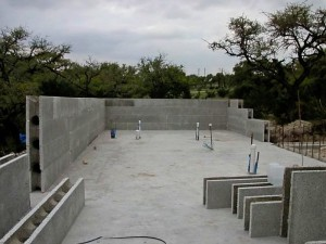 ICF walls being built up and soon ready for rebar and concrete.